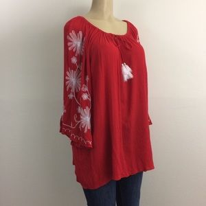 New Directions Top 1X Red Peasant White Embroidery